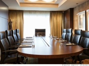 A board room set up for a meeting